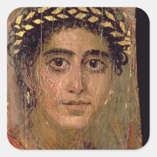 Porträtt av en kvinna, från Fayum, Fyrkantigt Klistermärke