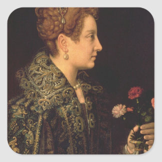 Porträtt av en kvinna fyrkantigt klistermärke