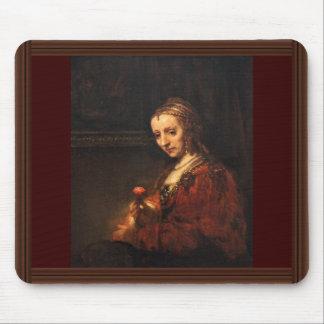 Porträtt av en kvinna med en röd nejlika, engelska mus mattor