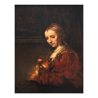 Porträtt av en kvinna med en röd nejlika, engelska flygblad