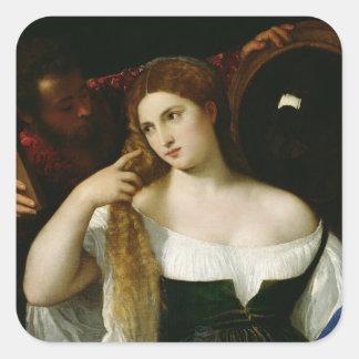 Porträtt av en kvinna på henne toalett, 1512-15 fyrkantigt klistermärke