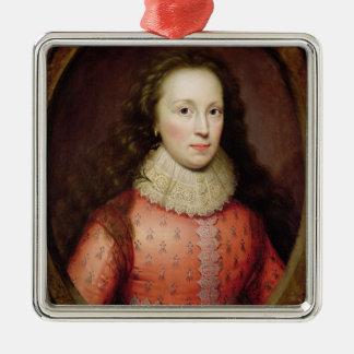 Porträtt av en kvinna som identifieras julgransprydnad metall