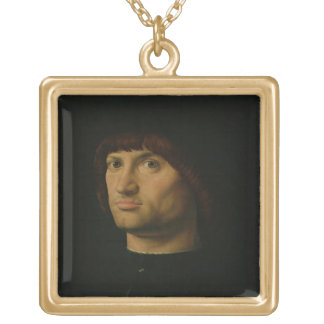 Porträtt av en man eller condottieren, 1475 (den o guldpläterat halsband