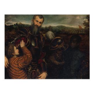Porträtt av en man i armor vykort