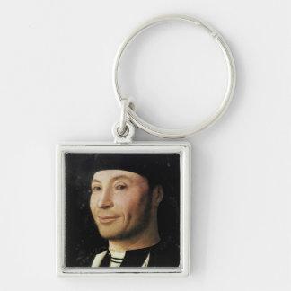 Porträtt av en okänd man fyrkantig silverfärgad nyckelring