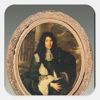Porträtt av en okänd man fyrkantigt klistermärke