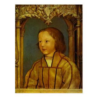 Porträtt av en pojke med blont hår av Hans Holbein Vykort
