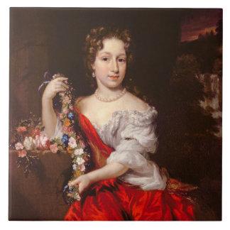 Porträtt av en ung dam (olja på kanfas) kakel