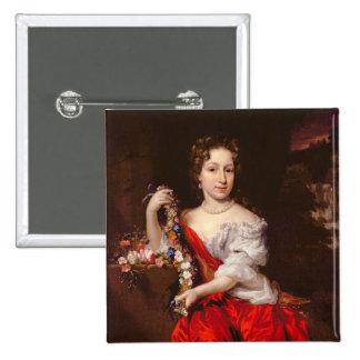 Porträtt av en ung dam (olja på kanfas) knappar med nål