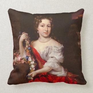 Porträtt av en ung dam (olja på kanfas) prydnadskuddar