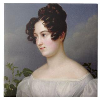 Porträtt av en ung kvinna, 1827 (olja på kanfas) keramiska plattor
