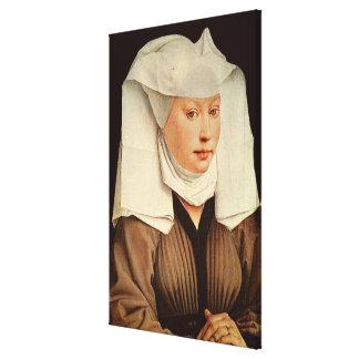 Porträtt av en ung kvinna i en klämmd fast hatt, c canvastryck