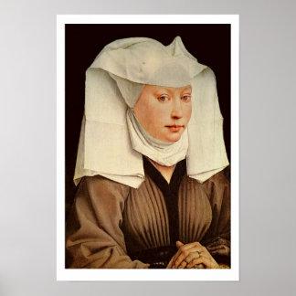 Porträtt av en ung kvinna i en klämmd fast hatt, c poster