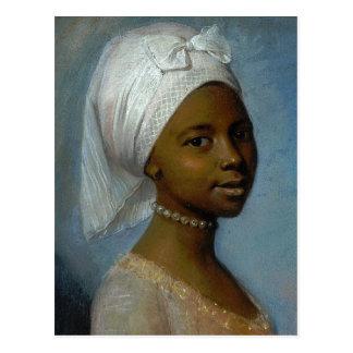 Porträtt av en ung kvinna vykort