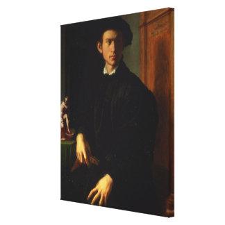 Porträtt av en ung man, c.1532-40 (olja på panel) canvastryck