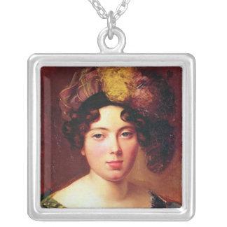 Porträtt av en ung skotsk kvinna silverpläterat halsband