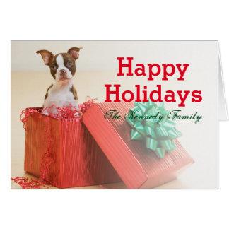 Porträtt av en vit och en brun Boston Terrier Hälsningskort