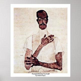 Porträtt av Erwin Von Graff Vid Schiele Egon Poster