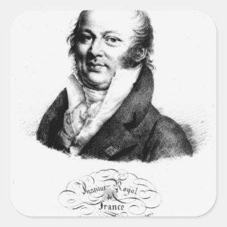 Porträtt av Etienne Geoffroy Sanktt-Hilaire Fyrkantigt Klistermärke