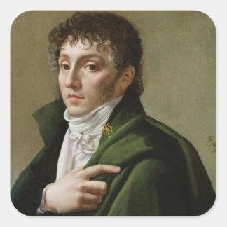 Porträtt av Etienne-Henri Mehul 1799 Fyrkantigt Klistermärke