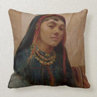 Porträtt av ett mittet - östlig flicka, c.1859 kudde