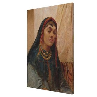 Porträtt av ett mittet - östlig flicka, c.1859 (ol canvastryck