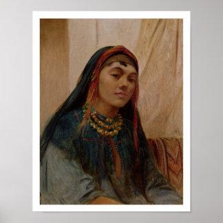 Porträtt av ett mittet - östlig flicka, c.1859 (ol poster