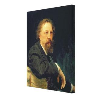 Porträtt av författareräkningen Alexey K. Tolstoy Canvastryck