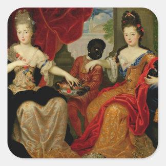 Porträtt av Francoise-Marie de Bourbon Fyrkantigt Klistermärke