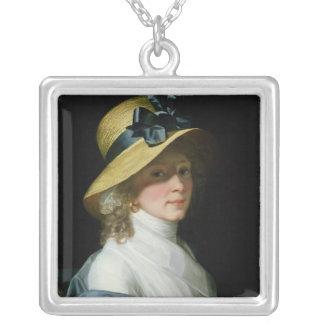 Porträtt av frauen Senator Elisabet Hudtwalcker Silverpläterat Halsband