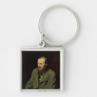 Porträtt av Fyodor Dostoyevsky 1872 Fyrkantig Silverfärgad Nyckelring