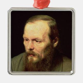Porträtt av Fyodor Dostoyevsky 1872 Julgransprydnad Metall