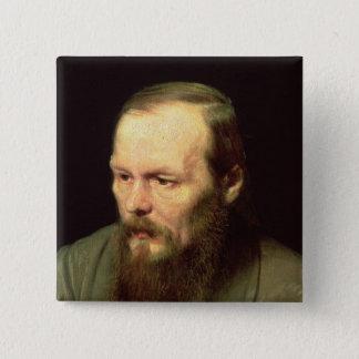 Porträtt av Fyodor Dostoyevsky 1872 Standard Kanpp Fyrkantig 5.1 Cm