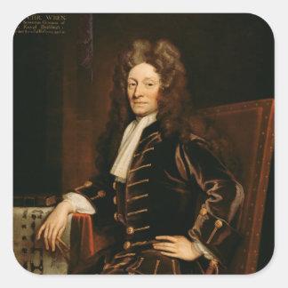 Porträtt av gärdsmygen 1711 för herr Christopher Fyrkantigt Klistermärke