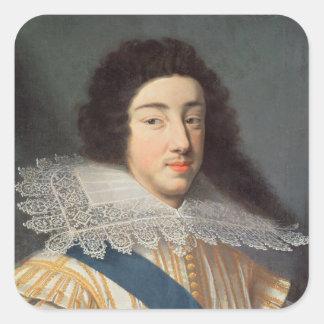 Porträtt av Gaston d'Orleans Fyrkantigt Klistermärke