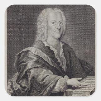 Porträtt av Georg Philipp Telemann Fyrkantigt Klistermärke