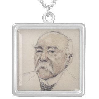 Porträtt av Georges Clemenceau Silverpläterat Halsband