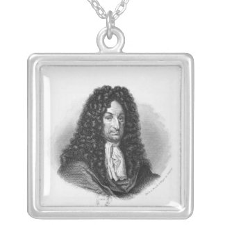Porträtt av Gottfried Wilhelm Baron de Leibniz Silverpläterat Halsband