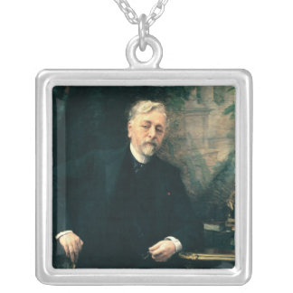 Porträtt av Gustave Eiffel 1905 Silverpläterat Halsband