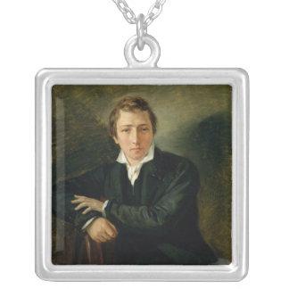 Porträtt av Heinrich Heine 1831 Silverpläterat Halsband