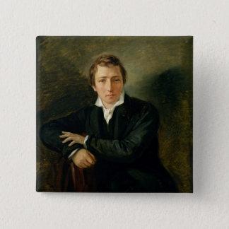 Porträtt av Heinrich Heine 1831 Standard Kanpp Fyrkantig 5.1 Cm