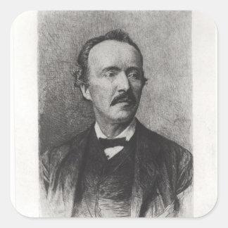Porträtt av Heinrich Schliemann Fyrkantigt Klistermärke