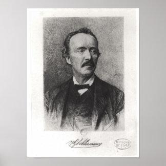 Porträtt av Heinrich Schliemann Poster