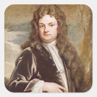 Porträtt av herr Richard Steele 1711 Fyrkantigt Klistermärke