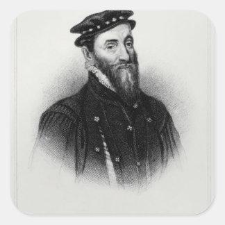 Porträtt av herr Thomas Gresham Fyrkantigt Klistermärke
