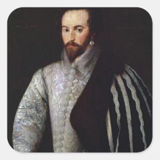 Porträtt av herr Walter Raleigh 1588 Fyrkantigt Klistermärke