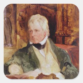 Porträtt av herr Walter Scott Fyrkantigt Klistermärke