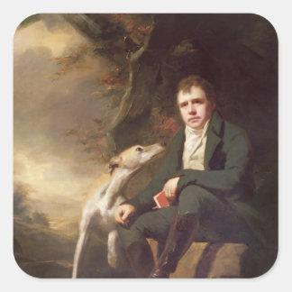 Porträtt av herr Walter Scott och hans hundar Fyrkantigt Klistermärke