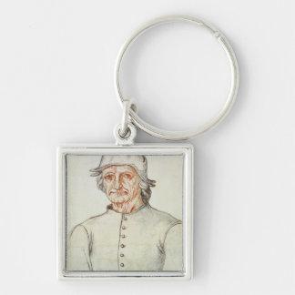Porträtt av Hieronymus Bosch Fyrkantig Silverfärgad Nyckelring