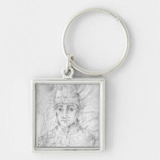 Porträtt av Humphrey av England Fyrkantig Silverfärgad Nyckelring